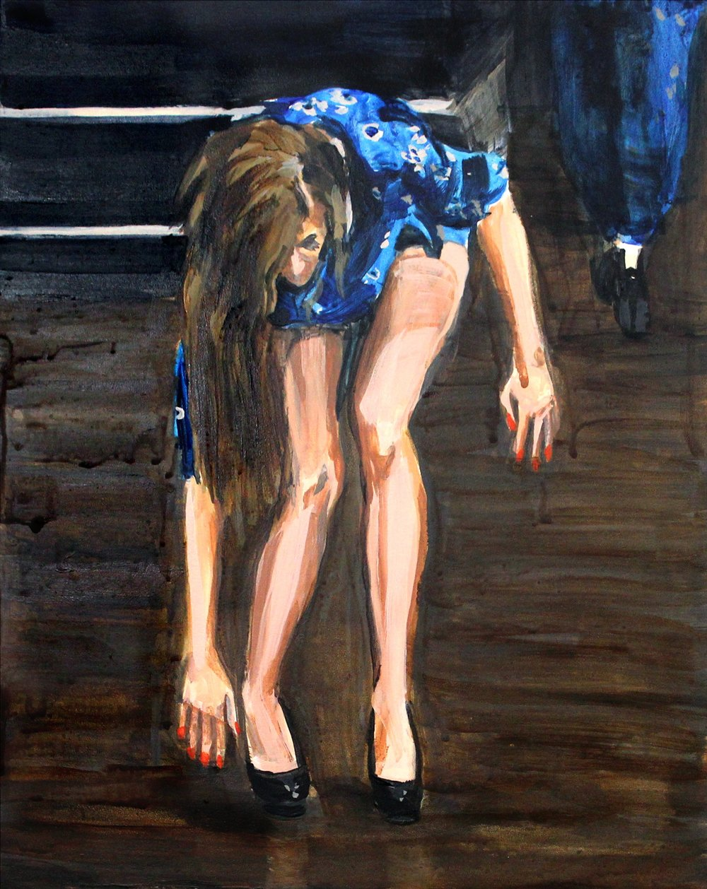 "Runway Model Falling no.3 11"" x 14"" acrylic on panel"