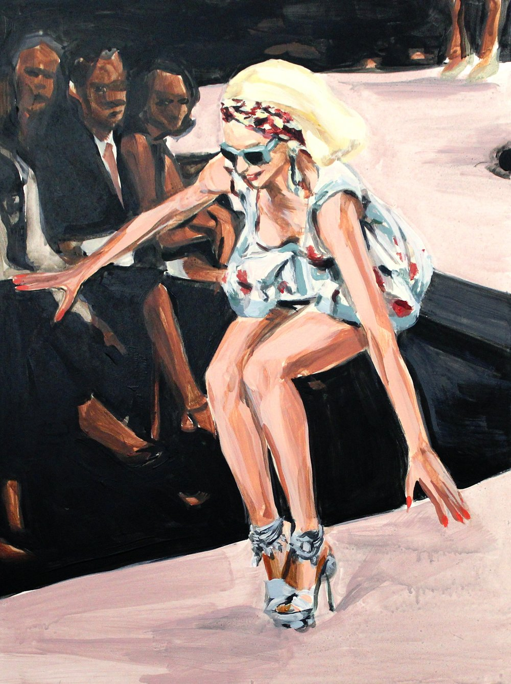 "Runway Model Falling no.4 (Milana Bogolepova during Dior) 12"" x 16"" acrylic on panel"