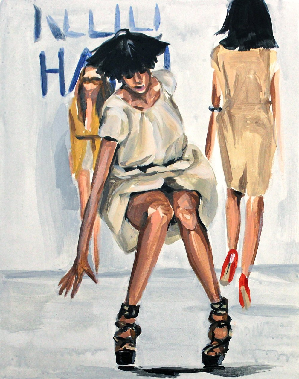 "Runway Model Falling no.5 (Agyness Deyn during Naomi Campbell's show) 11"" x 14"" acrylic on panel"