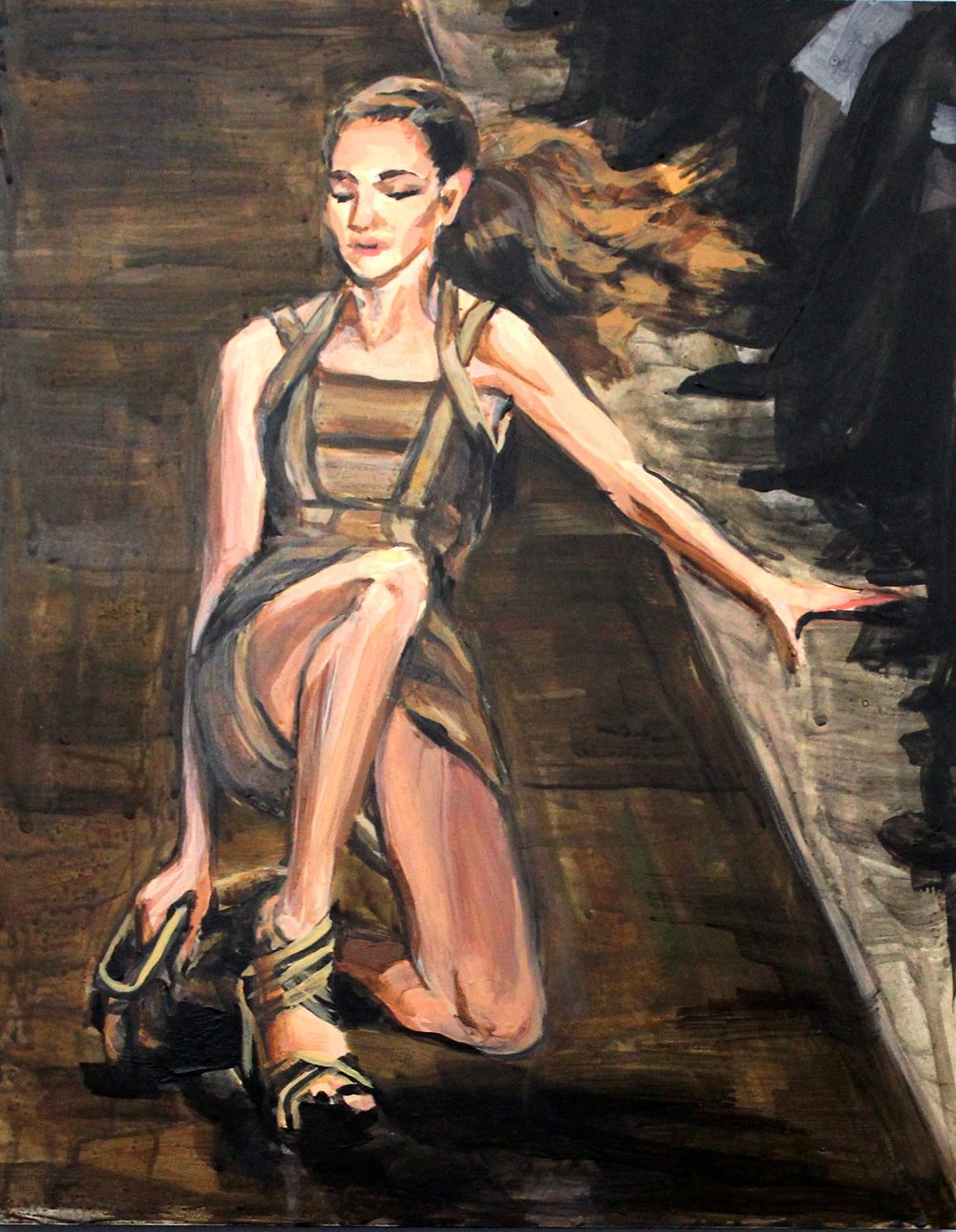 "Runway Model Falling no.6 (Monika Jagaciak during Herve Leger) 11"" x 14"" acrylic on panel"