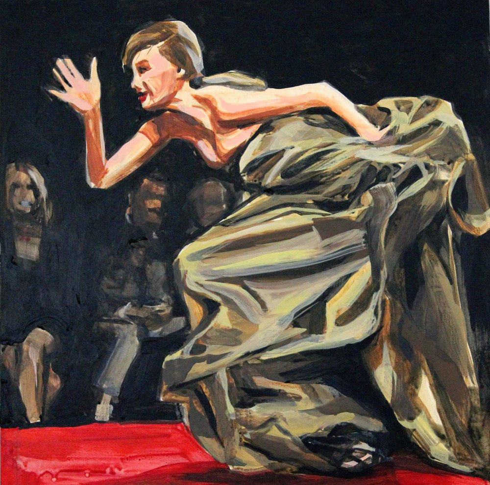 "Runway Model Falling no.7 (Lindsey Wixson during Fashion For Relief show) 12"" x 12"" acrylic on panel"