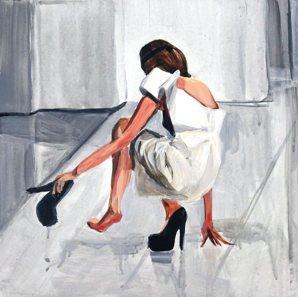 "Runway Model Falling no.11 (during Andreea Tincu & Sense)   12"" x 12"" acrylic on panel   SOLD"