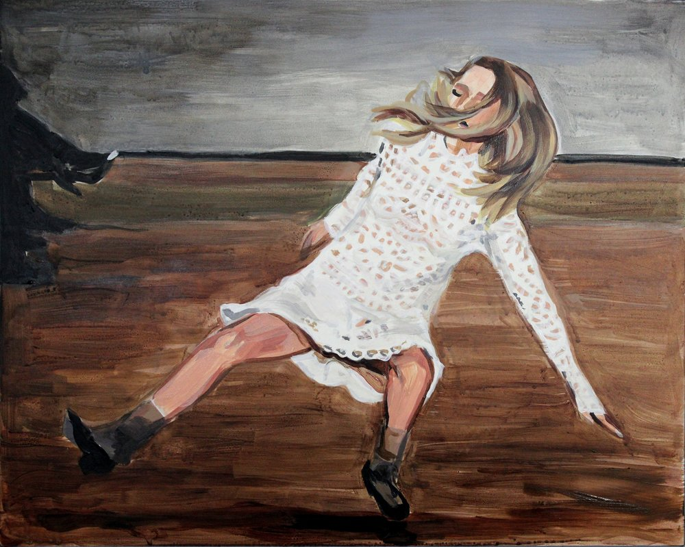 "Runway Model Falling no.8 (Mathilde Frachon during Marc by Marc Jacobs) 16"" x 20"" acrylic on panel"