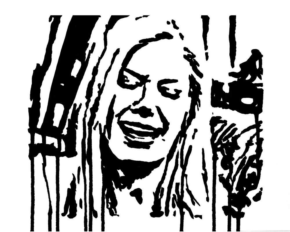 "Heidi Montag Crying 9"" x 12"" ink on paper"