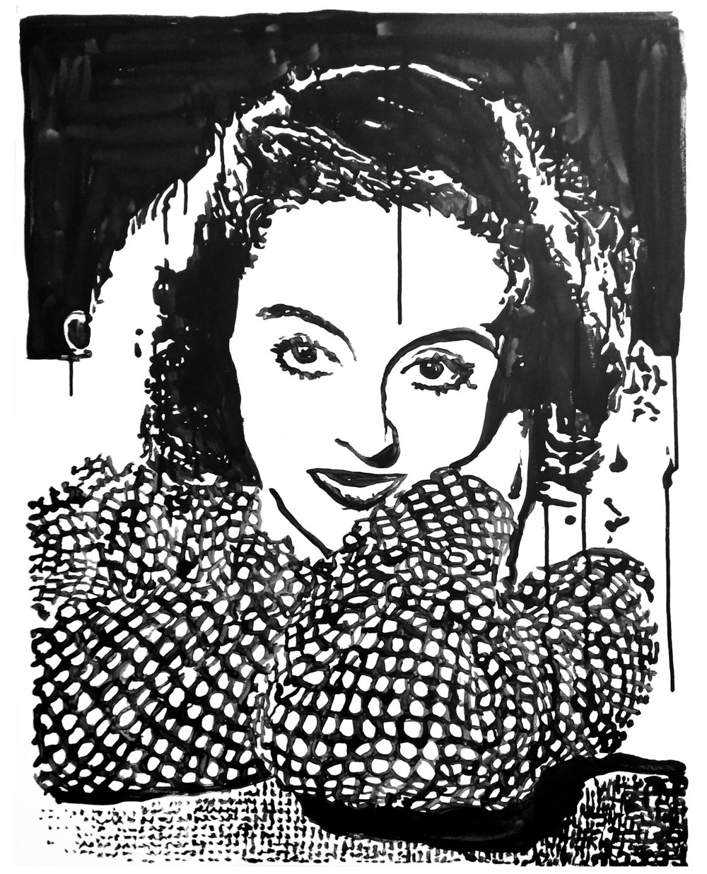 "Bette Davis 20"" x 30"" ink on canvas"