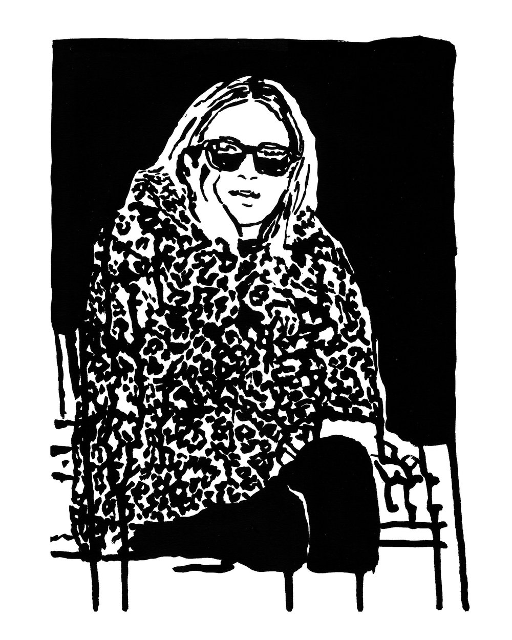 "Olsen Twin 9"" x 12"" ink on paper"