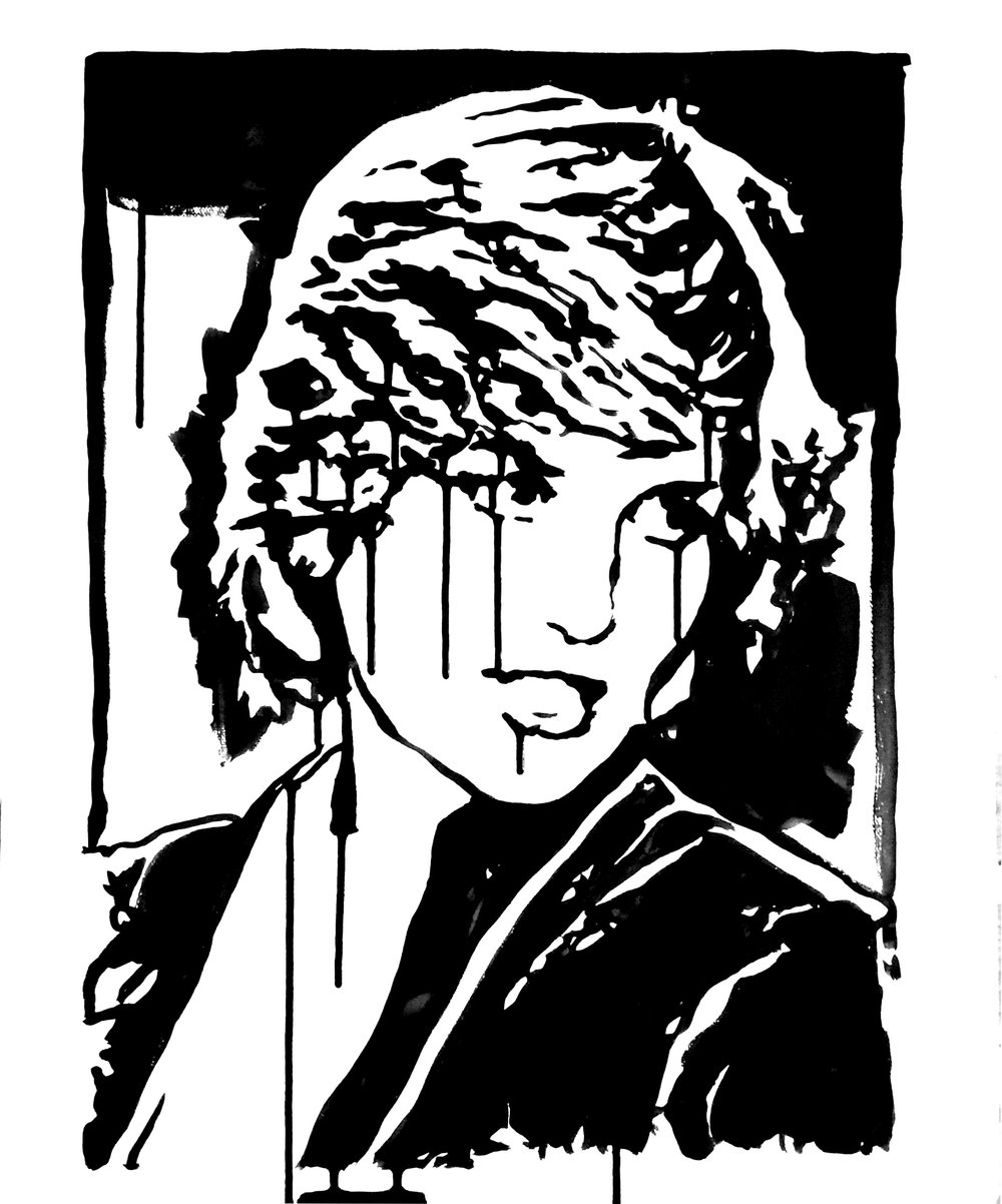 "Princess Diana 18"" x 24"" ink on canvas"