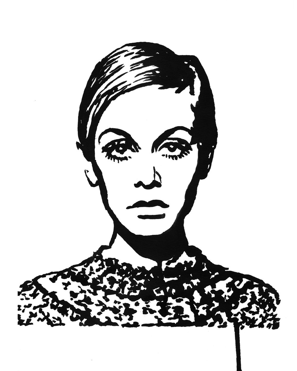 "Twiggy in a Sweater 9"" x 12"" ink on paper"