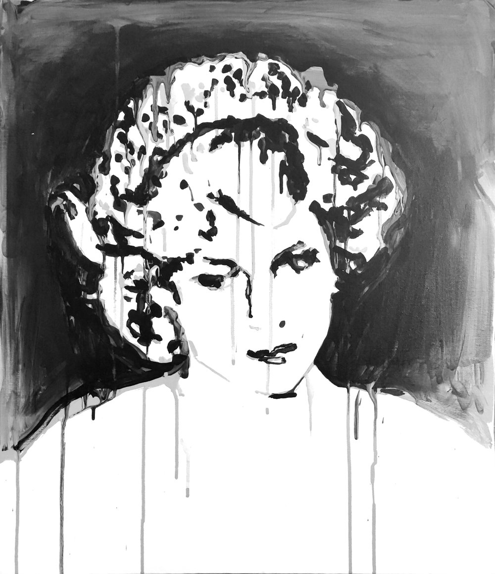 "Princess Diana in Crown 18"" x 24"" ink on canvas"
