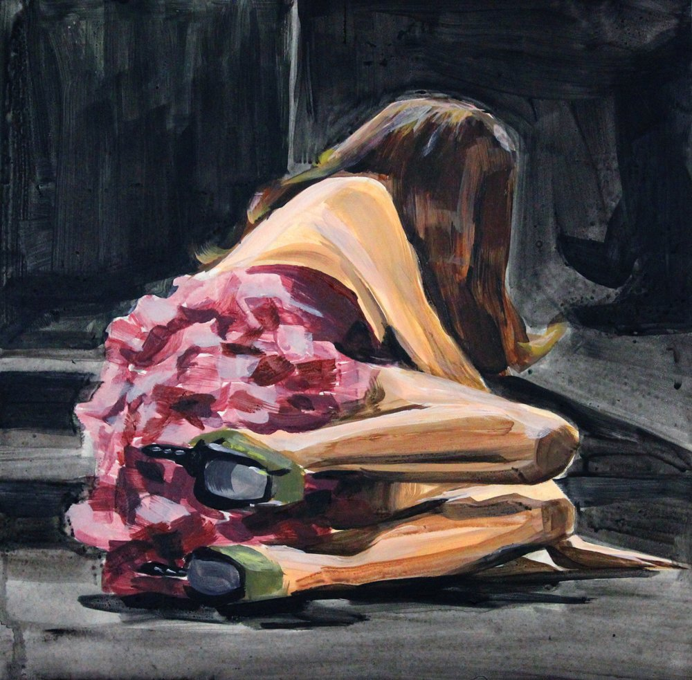 "Runway Model Falling no.12 (during Christian Siriano) 12"" x 12"" acrylic on panel"