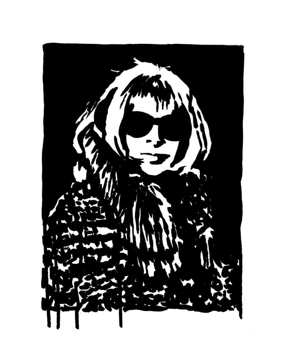 "Anna Wintour in Fur 9"" x 12"" ink on paper"