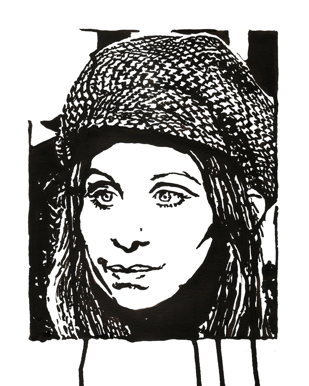 "Barbra Streisand In Houndstooth 9"" x 12"" ink on paper"