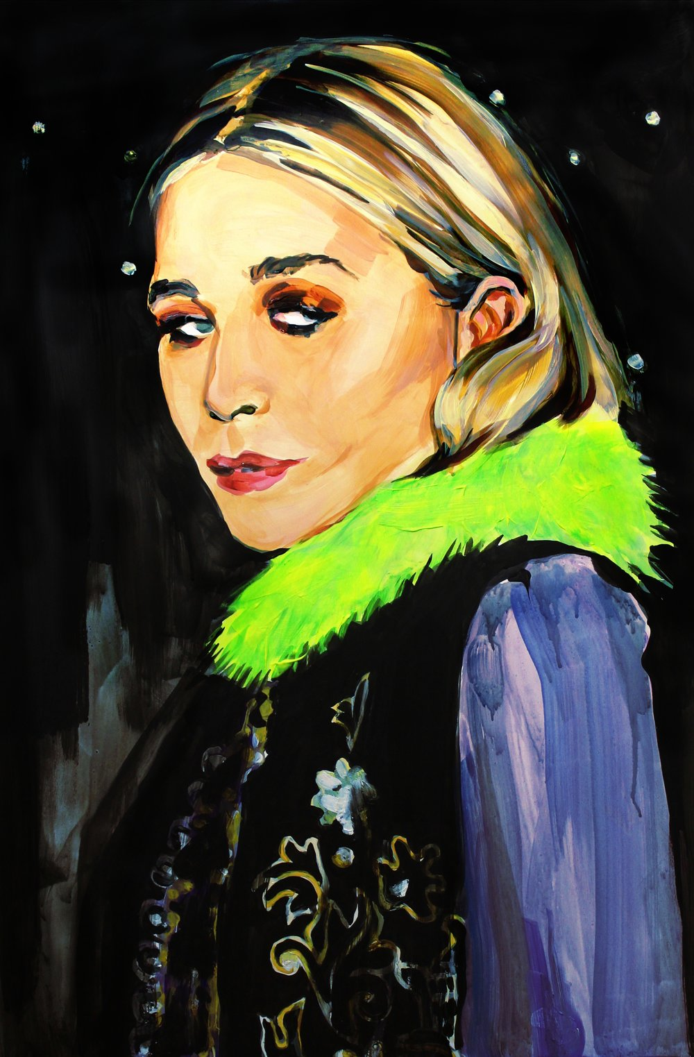 "Ashley Olsen at the 2017 Met Gala   24"" x 36"" acrylic on panel   SOLD"