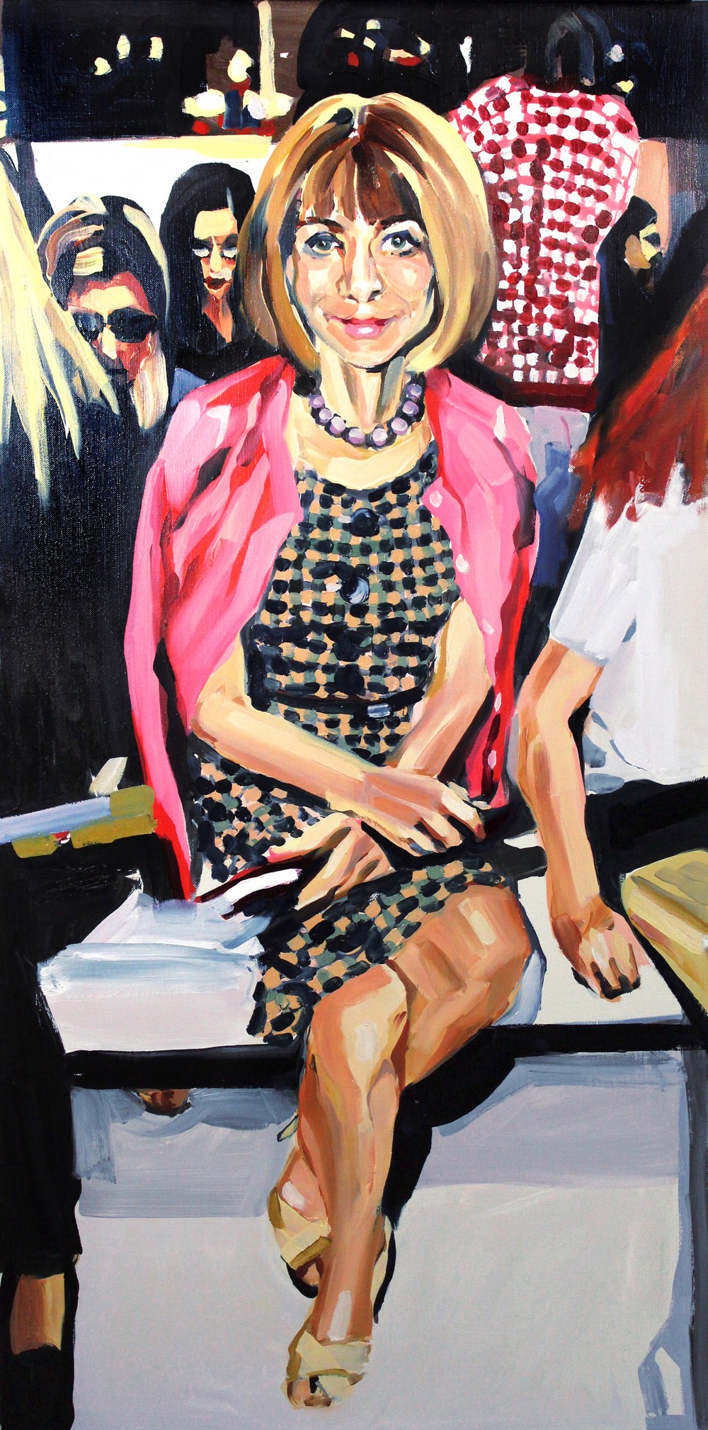 Laura Collins Anna Wintour Double Crossing Her Legs no. 4 oil on linen 24x48 2018.JPG