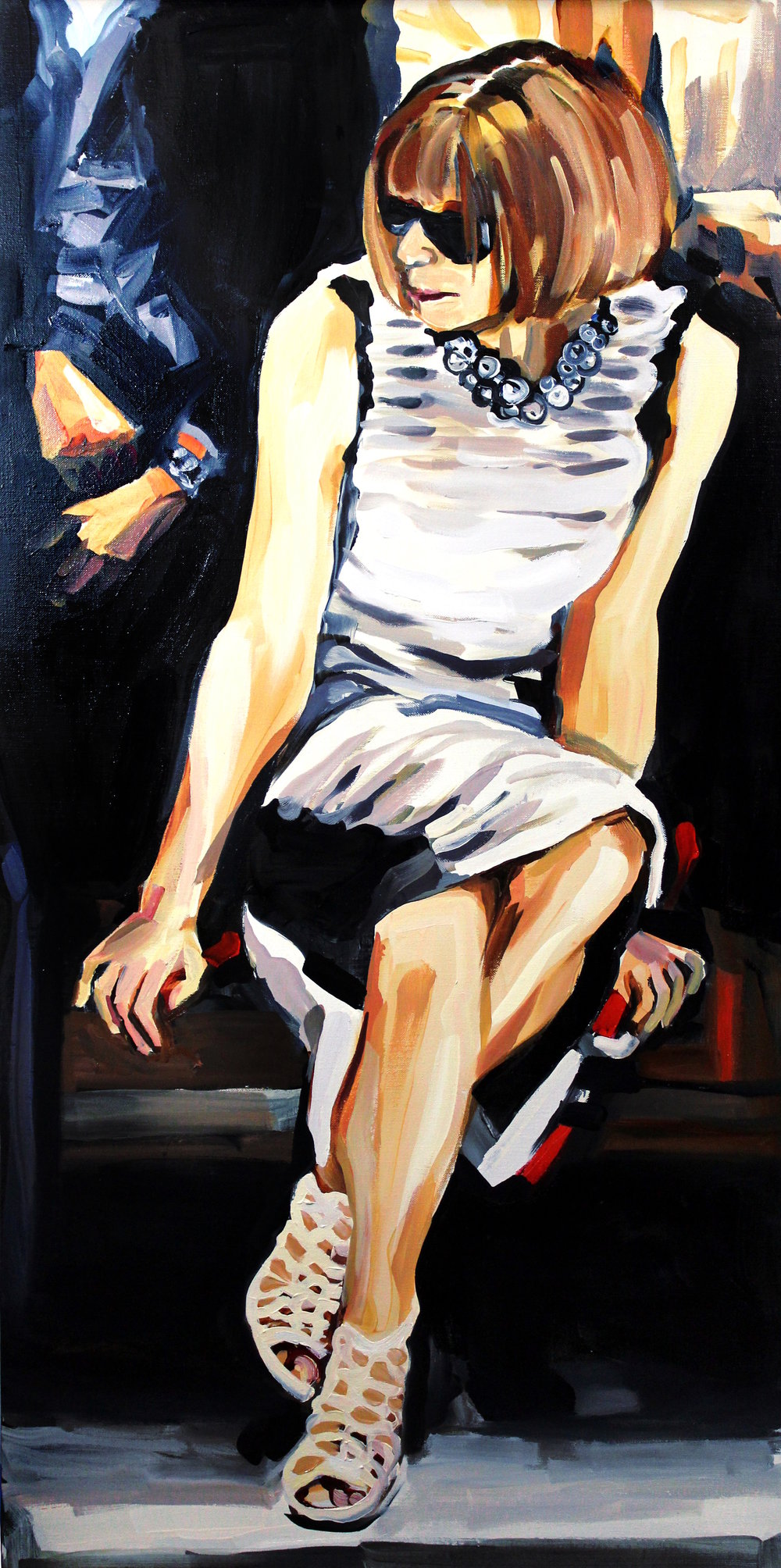 Laura Collins Anna Wintour Double Crossing Her Legs no. 5 oil on linen 24x48 2018.JPG