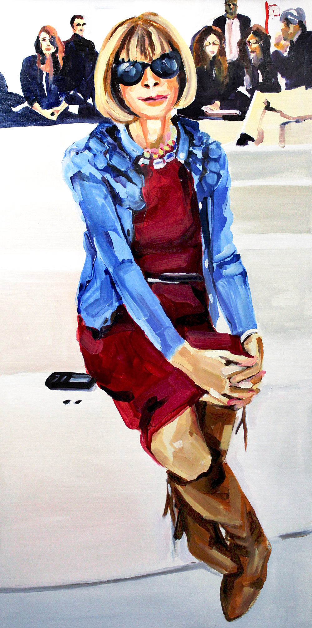Laura Collins Anna Wintour Double Crossing Her Legs no. 6 oil on linen 24x48 2018.JPG