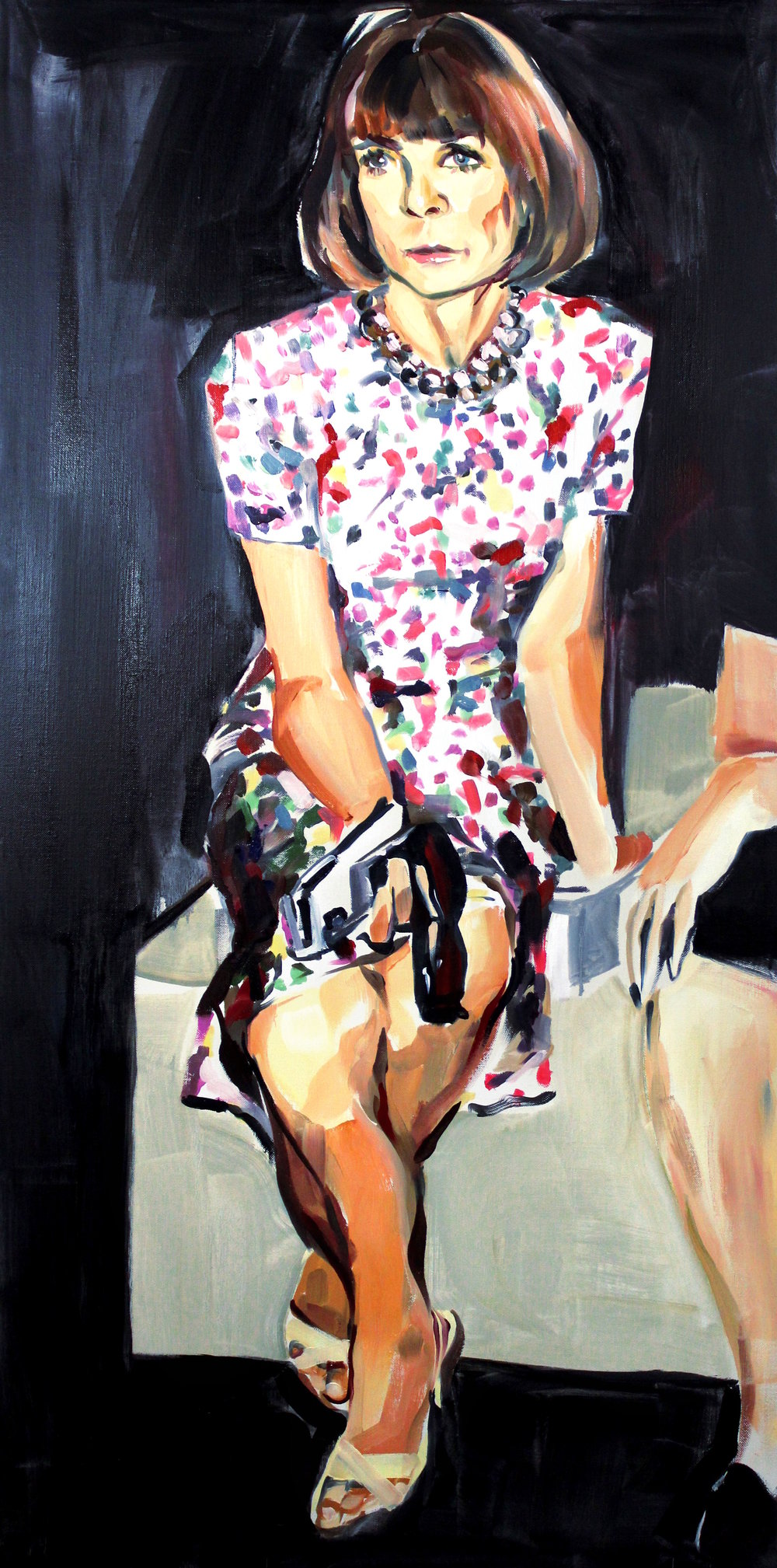 Laura Collins Anna Wintour Double Crossing Her Legs no. 1 oil on linen 24x48 2018.JPG
