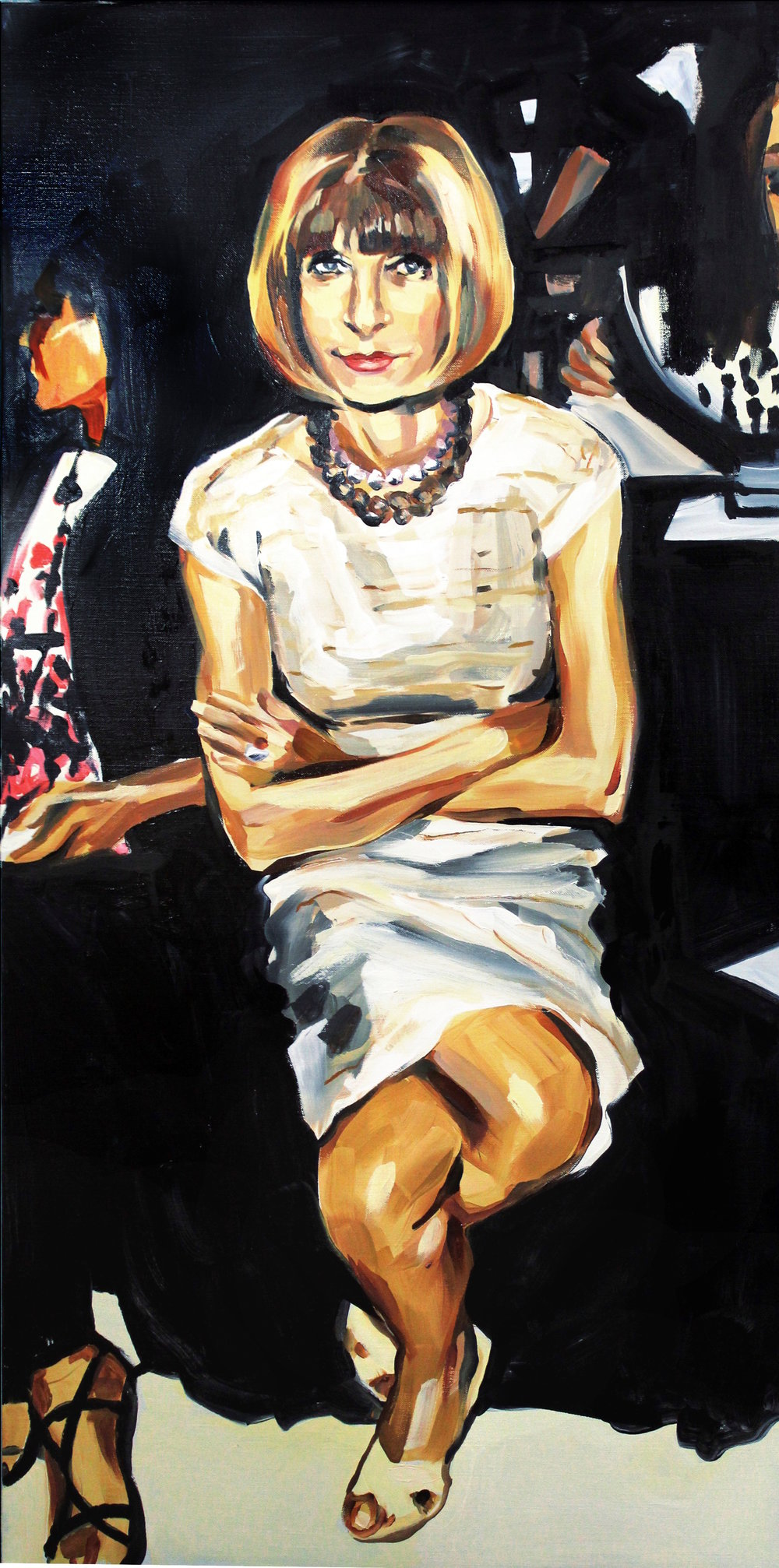 Laura Collins Anna Wintour Double Crossing Her Legs no. 3 oil on linen 24x48 2018.JPG