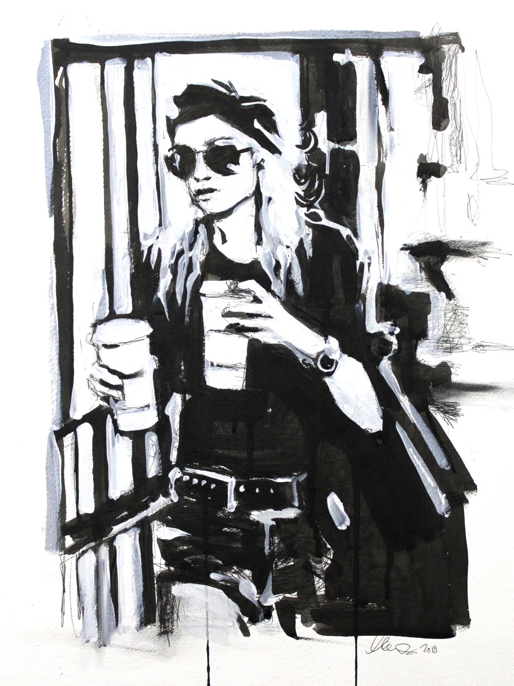 Laura Collins An Olsen Twin With Coffee no.1 18x24 Mixed Media on Paper 2018.png