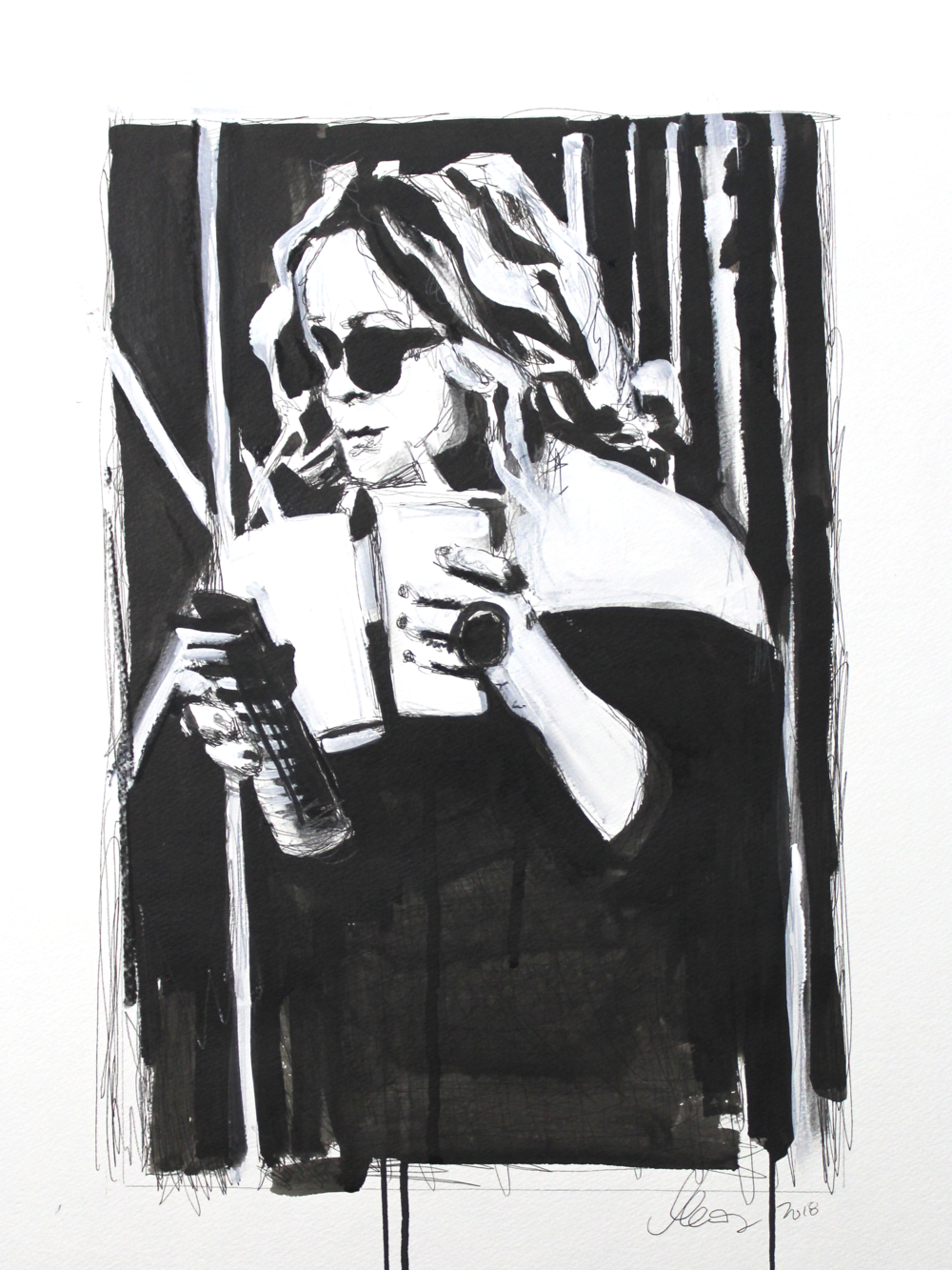 Laura Collins An Olsen Twin With Coffee no.2 18x24 Mixed Media on Paper 2018.png