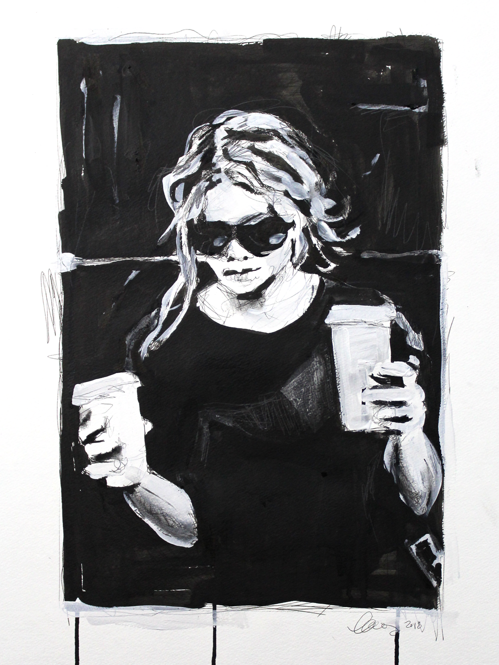 Laura Collins An Olsen Twin With Coffee no.3 18x24 Mixed Media on Paper 2018.png