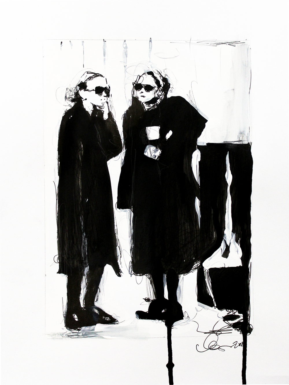 Laura Collins An Olsen Twin With Coffee no.4 11x14 Mixed Media on Paper 2018.png