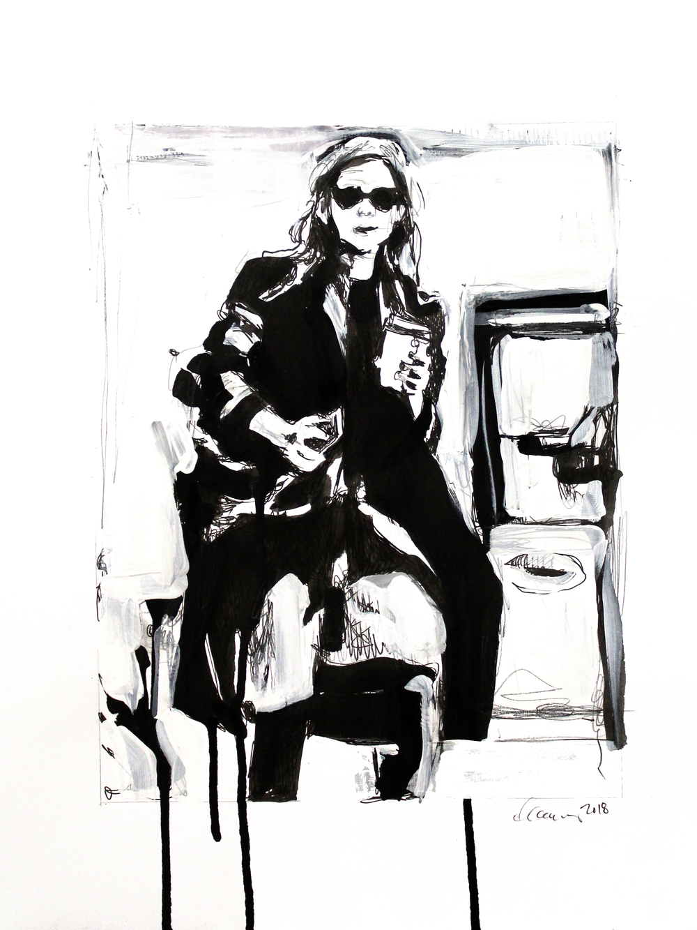 Laura Collins An Olsen Twin With Coffee no.6 11x14 Mixed Media on Paper 2018.png