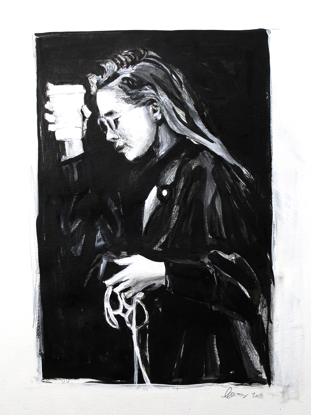 Laura Collins An Olsen Twin With Coffee no.8 18x24 Mixed Media on Paper 2018.png