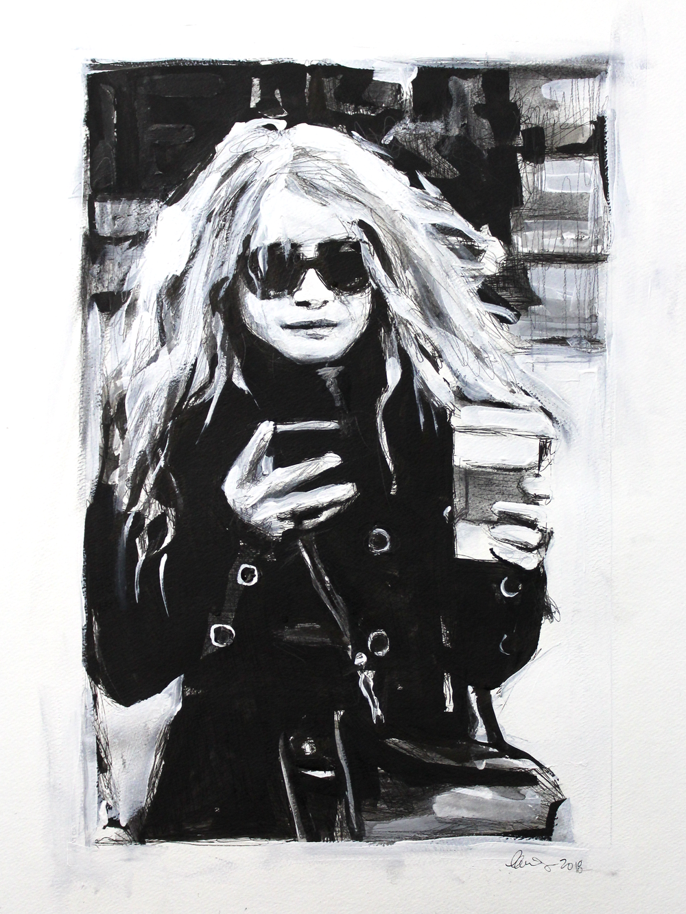 Laura Collins An Olsen Twin With Coffee no.9 18x24 Mixed Media on Paper 2018.png