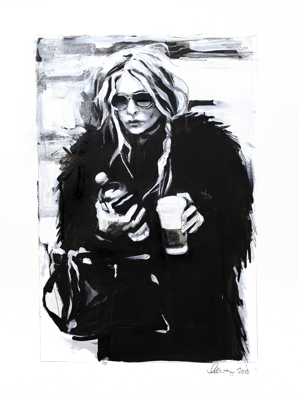 Laura Collins An Olsen Twin With Coffee no.10 18x24 Mixed Media on Paper 2018.png