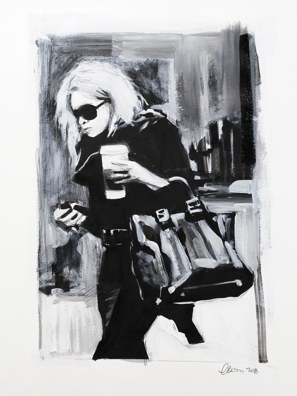 Laura Collins An Olsen Twin With Coffee no.11 18x24 Mixed Media on Paper 2018.png