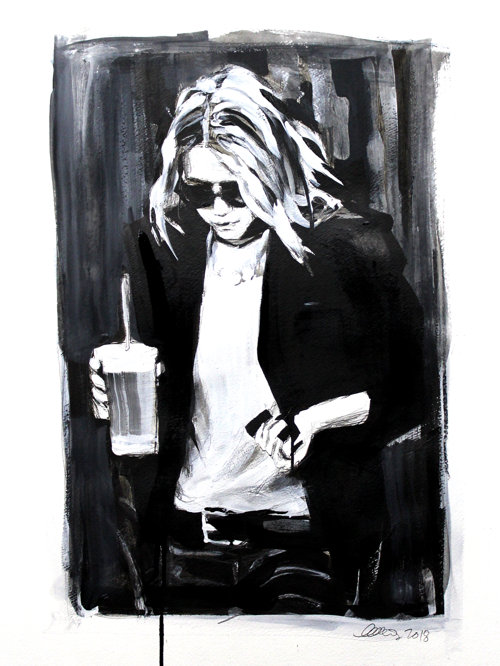 Laura Collins An Olsen Twin With Coffee no.12 18x24 Mixed Media on Paper 2018.png