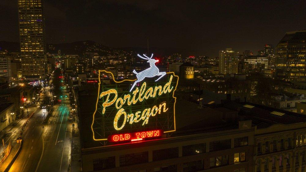 Portland Oregon Sign with Reindeer
