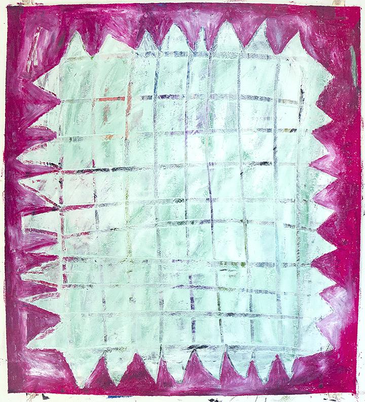 oil pastel, oil on paper 22 x 20 in / 56 x 51 cm