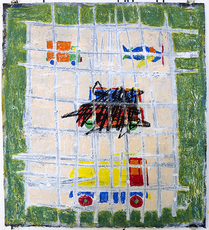 oil pastel, acrylic on paper 22 x 20 in / 56 x 51 cm