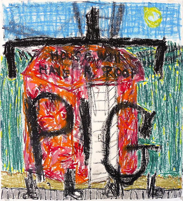 oil pastel on paper 22 x 20 in / 56 x 51 cm