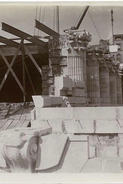 New York Public Library (Carrère & Hastings) under construction, 1905; marble work on Fifth Avenue facade.  Photo courtesy of New York Public Library Digital Collections