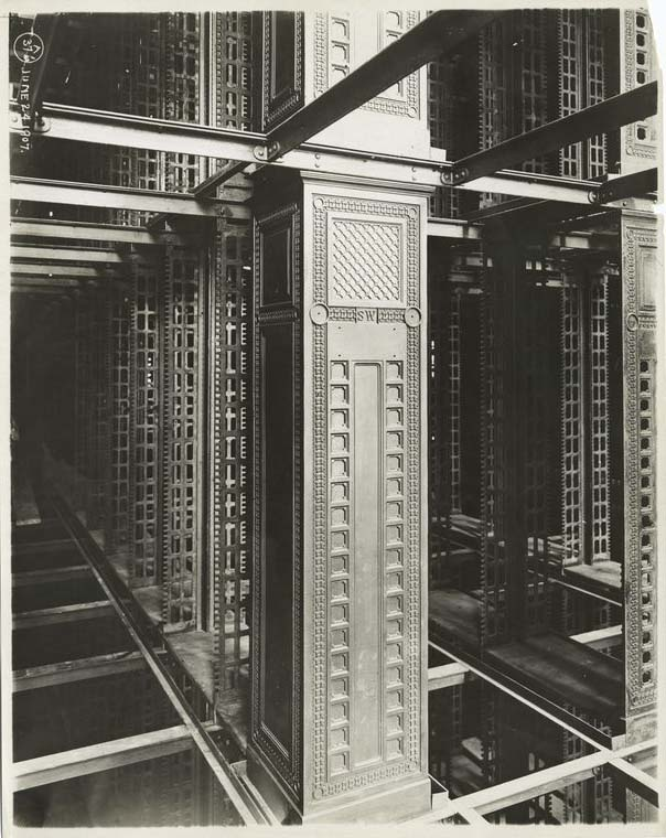 New York Public Library (Carrère & Hastings) under construction, 1907. The stacks were custom-built of steel and cast iron by Snead & Company Iron Works.  Photo courtesy of New York Public Library Digital Collections