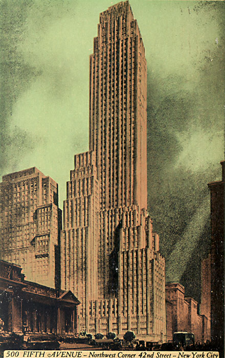 I'm thrilled to be working with Norton, a house based for the last forty years in this fabulous Shreve, Lamb & Harmon building overlooking the New York Public Library — the subject of Huxtable's famous last stand in 2012. 500 Fifth was finished in the same year (1931) as the firm's better-known Empire State Building.