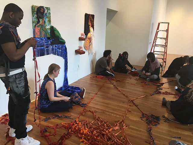 "Next week is the last week to see ""How We Sit In Rooms"" @brantgallery ! It has been incredible speaking with the students and seeing how invested they have become in collaborating with each of our processes. Visit @ac_tu_al and I this Thursday 10am-6pm or join us for our reception 6pm to 8pm.  #BrantGallery #buddingartists #collaboration #bostonartist #dialogue #throughmaking #sharingmemories #somethingyoutakewithyou #fibers #crochet #painting #expandedfield"