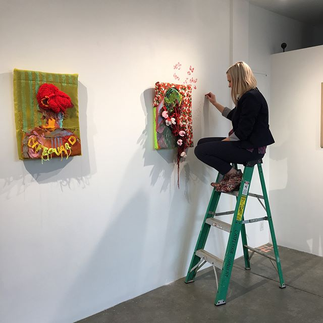 Come out tonight (6pm-9pm) to the opening of #DomesticMemory @abigailogilvy and see these Jordan's. She's even started to expand out onto the gallery wall. #livingherbestlife #flowersinhair #maiden #springishere #painting #installationart #fantasy #flipping #portraiture
