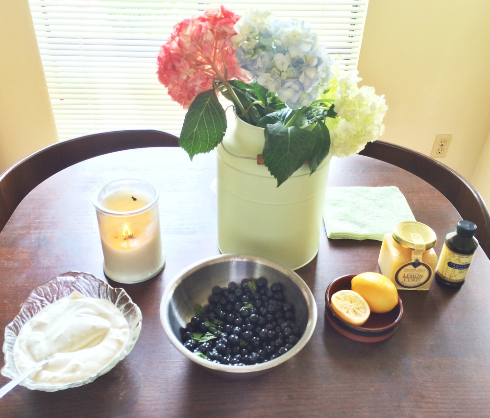 Sugared mint blueberries, lemon curd, fresh whipped cream topping, extra vanilla