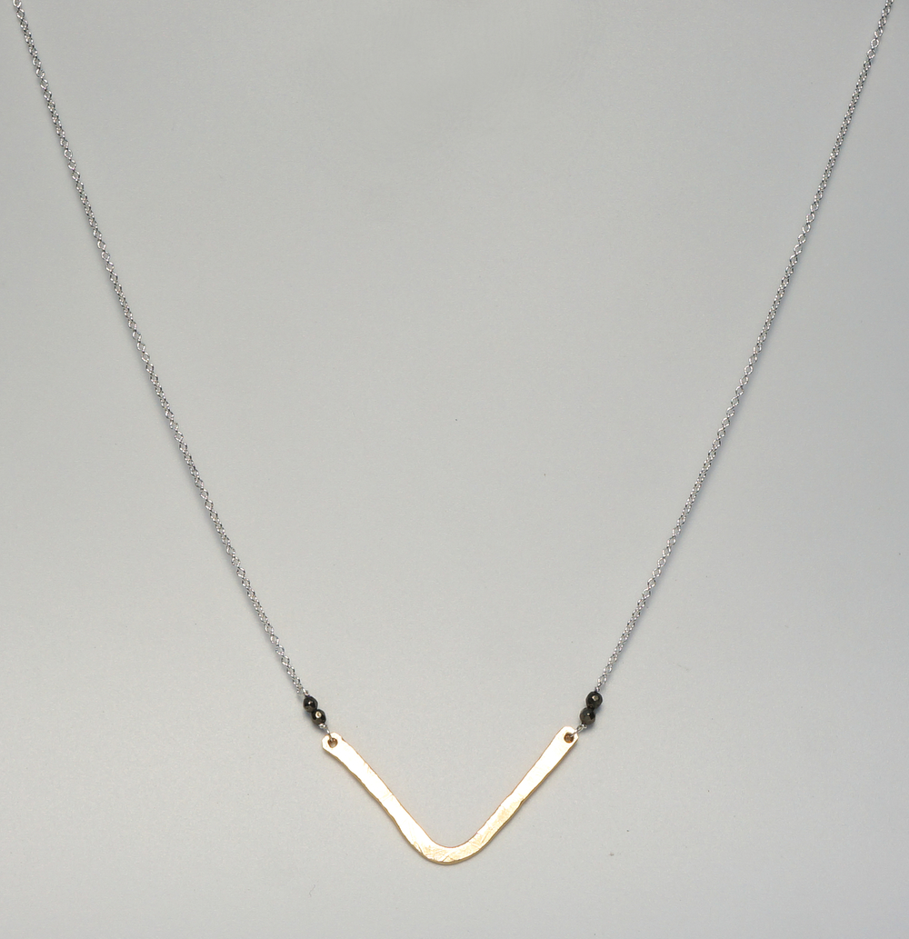 Nikkal+Necklace+handmade+with+hammered+Gold+Filled+Triangle,+Pyrite+and+Sterling+Silver+Chain.jpg