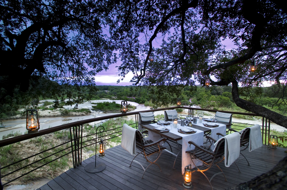 Dining at &Beyond Leadwood Lodge in Sabi Sand Game Reserve.