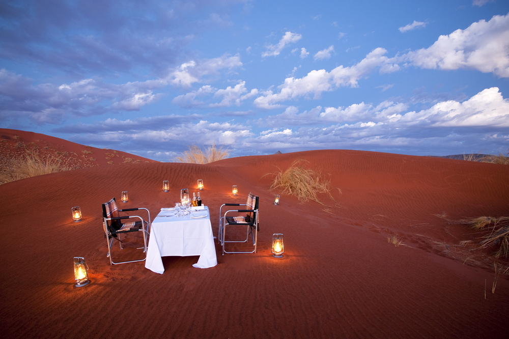 Dune Dining at &Beyond Sossusvlei Desert Lodge in Namibia.