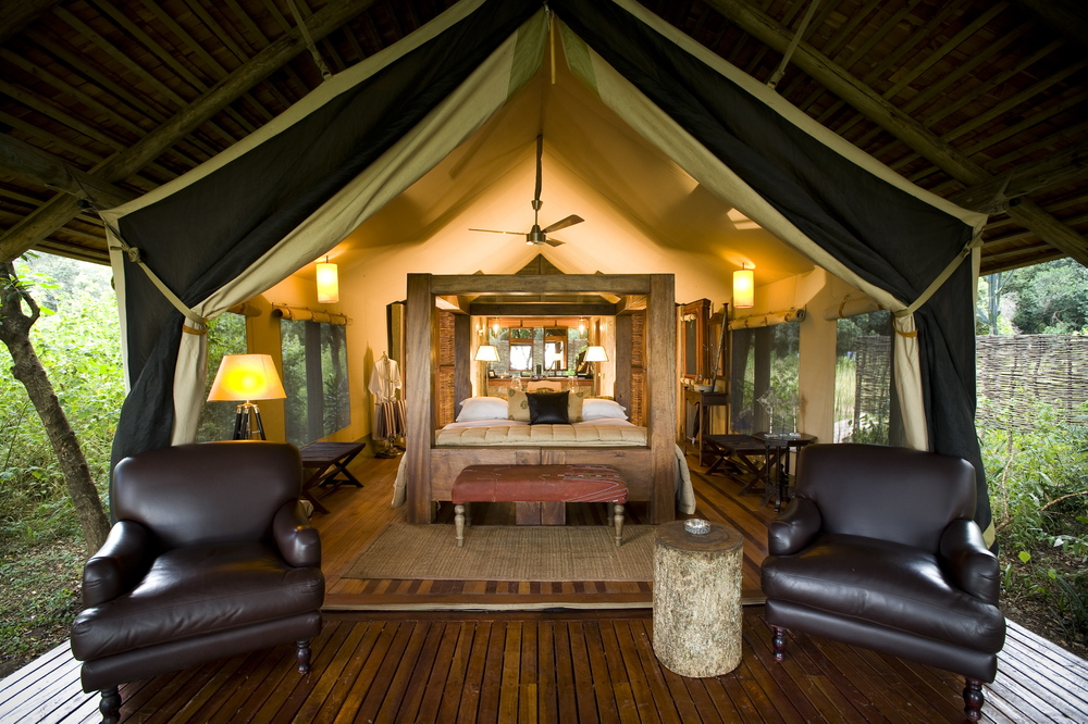 Luxury Tent Interior at &Beyond Bateleur Camp in Kenya.