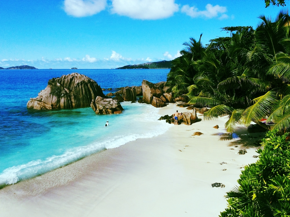 La Digue beach in Seychelles.