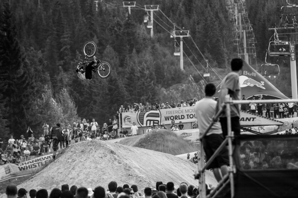 Anthony Messere performs a front flip at RedBull Joyride in Whistler, Canada on the 18th of August, 2012.