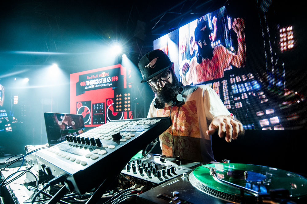 DJ Adam Doubleyou competes in the National Final of Red Bull Thre3style 2013 at Cowboys Nightclub in Alberta, Canada on the 6th of October, 2013