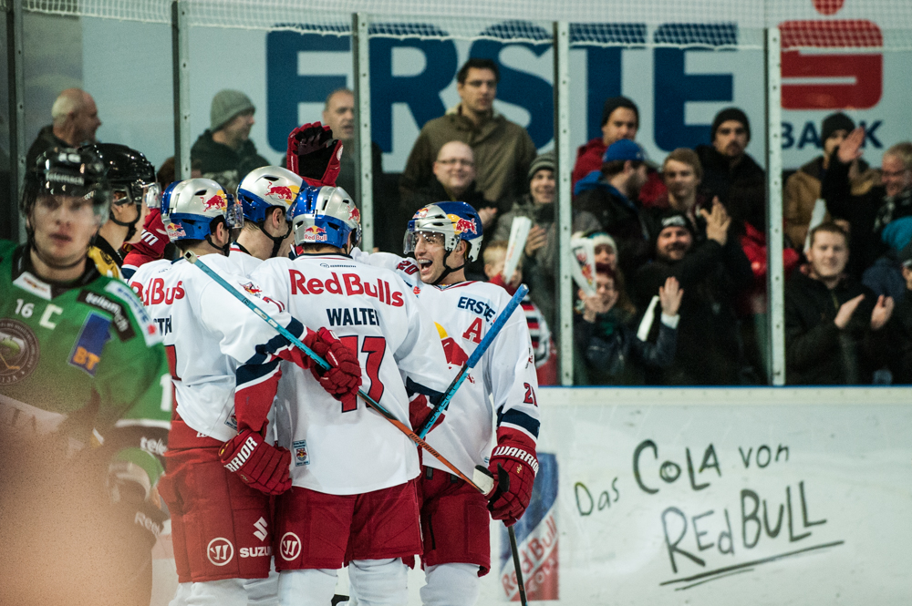 Image shows Brett Sterling (EC RBS) celebrating Salzburgs first goal during an EBEL match between EC Red Bull Salzburg and HDD Olimpija Ljubljana in Salzburg, Austria on November 23rd, 2014